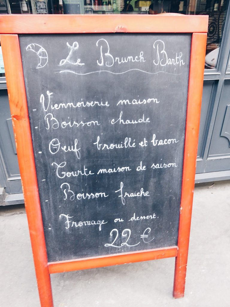 Menu Brunch Maison Barth's