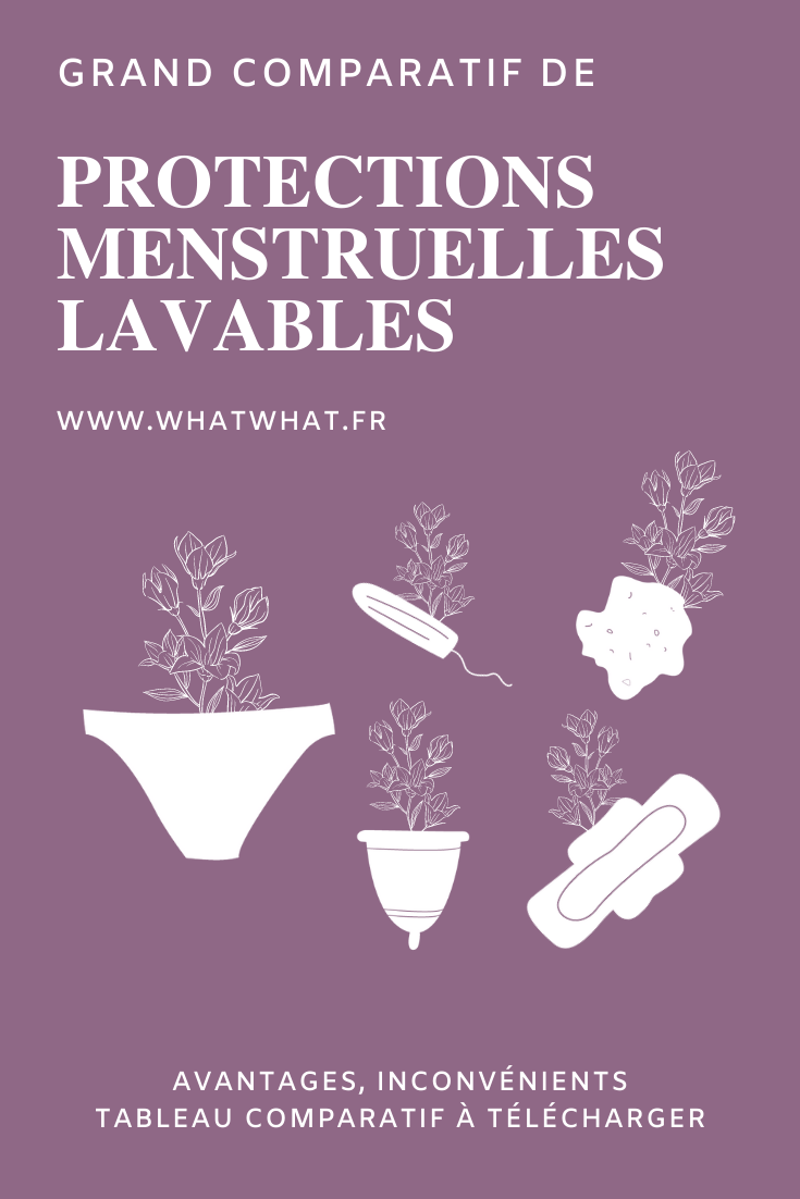 Grand comparatif de protections menstruelles lavables